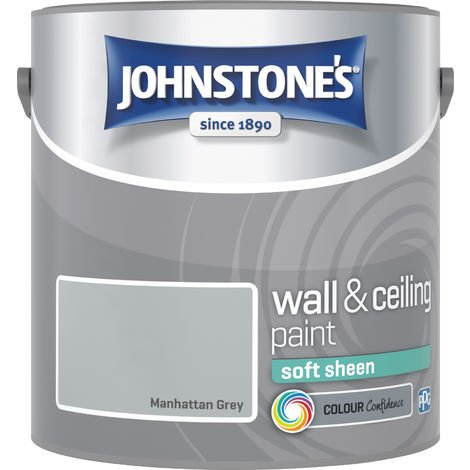 Johnstone's 307090 2.5 Litre Soft Sheen Emulsion Paint - Manhattan Grey