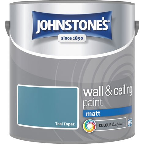 Johnstone's 307095 2.5 Litre Matt Emulsion Paint - Teal Topaz