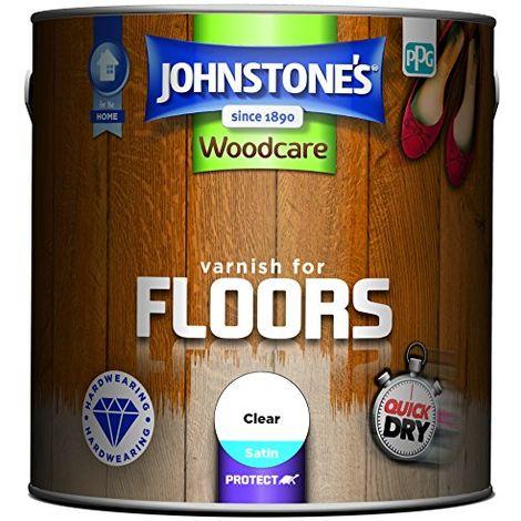 Johnstone's 309312 2.5 Litre Woodcare Satin Varnish For Floors - Clear