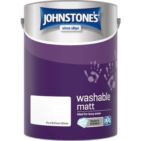 Johnstone's 5 Litre Washable Matt Emulsion Paint - Pure Brilliant White