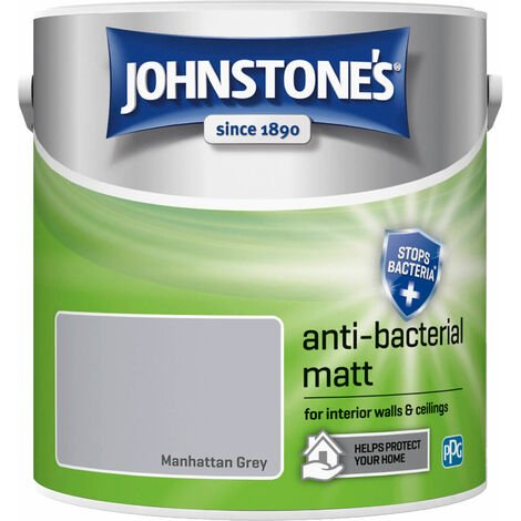 Johnstones Anti-Bacterial Matt Paint Manhattan Grey 2.5L