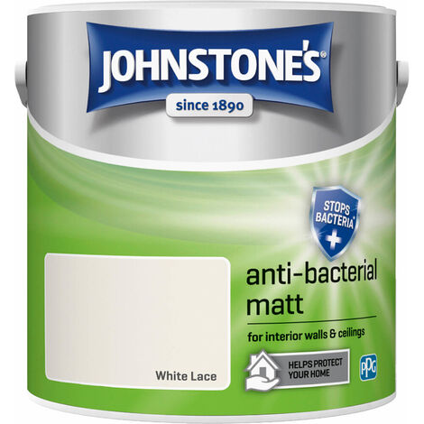 Johnstones Anti-Bacterial Matt Paint White Lace 2.5L