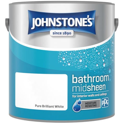 Johnstones Bathroom Mid Sheen Emulsion Brilliant White 2.5 Litre
