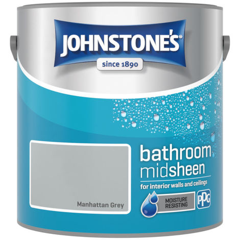Johnstones Bathroom Mid Sheen Emulsion Manhattan Grey 2.5 Litre