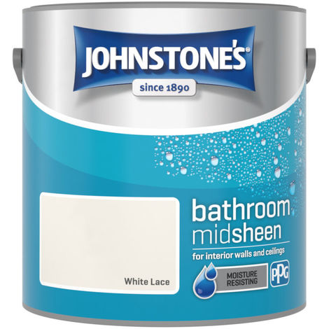 Johnstones Bathroom Mid Sheen Emulsion White Lace 2.5 Litre