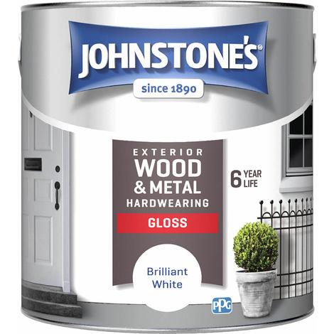 Johnstones Exterior Wood & Metal Hardwearing Gloss Brilliant White 2.5L