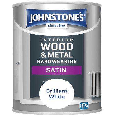 Johnstones Interior Wood & Metal  Hardwearing Satin Brilliant White 750ml