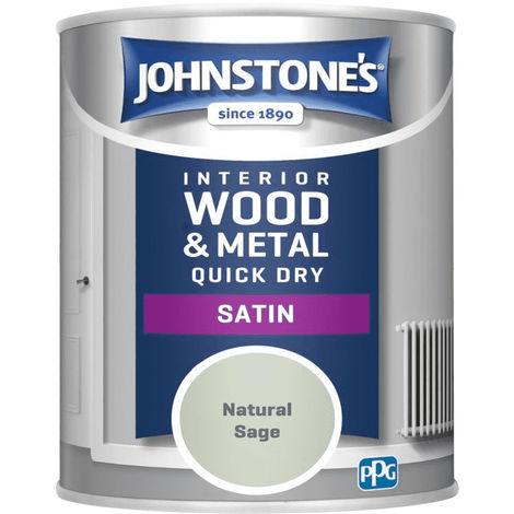 Johnstones Interior Wood & Metal Hardwearing Satin Natural Sage 750ml