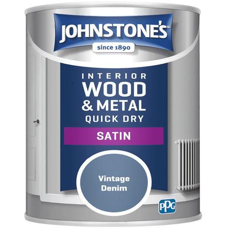 Johnstones Interior Wood & Metal Hardwearing Satin Vintage Denim 750ml
