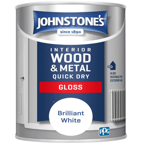 Johnstones Interior Wood & Metal Quick Dry Gloss Brilliant White 750ml