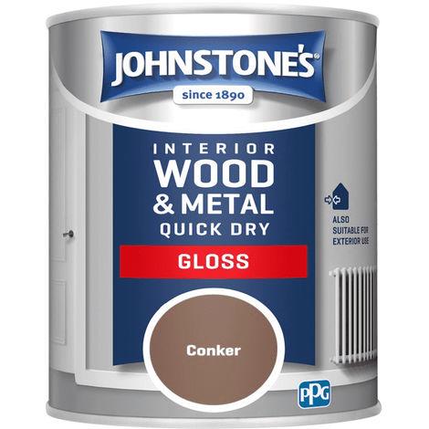 Johnstones Interior Wood & Metal Quick Dry Gloss Conker 750ml