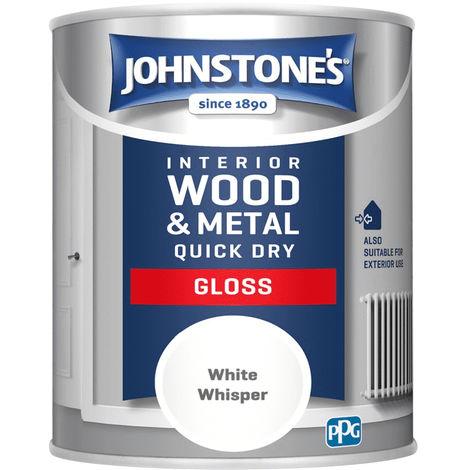 Johnstones Interior Wood & Metal Quick Dry Gloss White Whisper 750ml