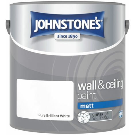 Johnstones No Ordinary Paint One Coat Water Based Matt Ceiling Paint Brilliant White 2.5 Litre