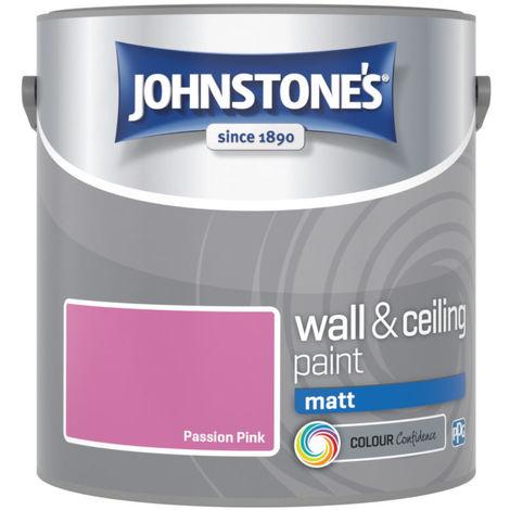 Johnstones No Ordinary Paint Water Based Interior Vinyl Matt Emulsion Passion Pink 2.5 Litre
