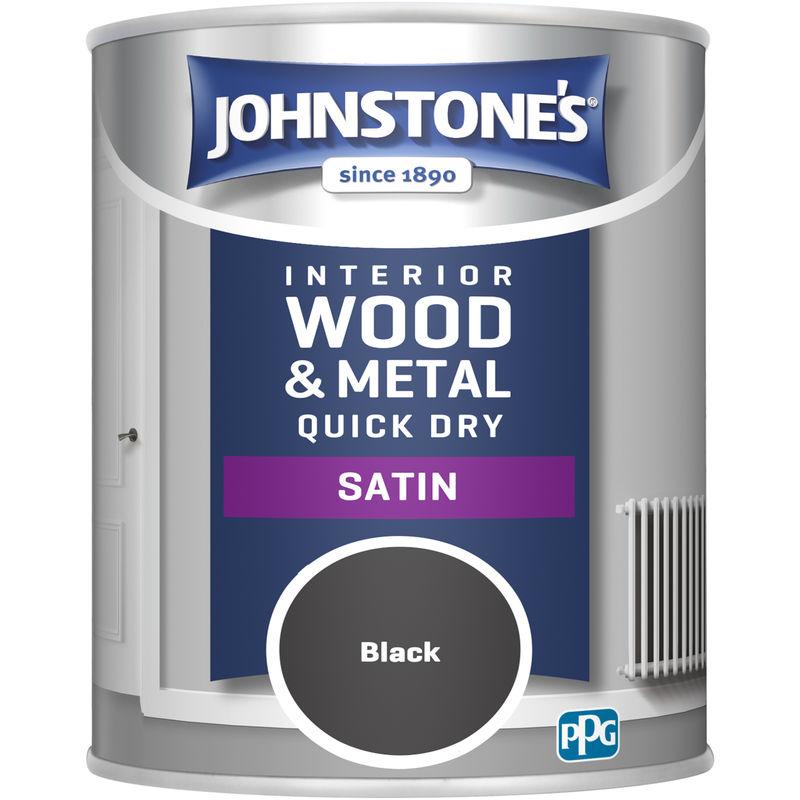 Image of 303913 750ml One Coat Quick Dry Satin Paint - Black - Johnstone's