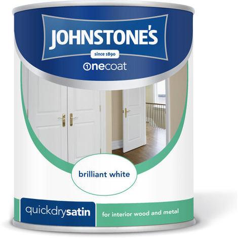 Johnstones One Coat Quick Dry Satin Brilliant White 2.5 Litre