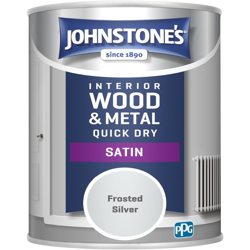 Image of 303919 750ml One Coat Quick Dry Satin Paint - Frost Silver - Johnstone's