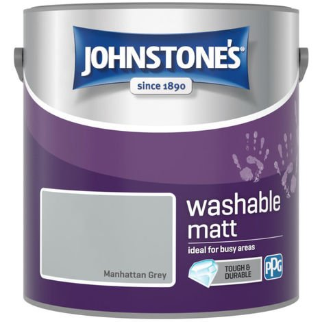 Johnstones Washable Matt Emulsion Manhattan Grey 2.5 Litre