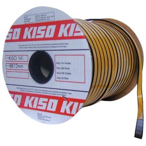 Joint d'étanchéité Kiso 141 en epdm vitrage/châssis épaisseur 3 x largeur 9 mm en bobine de 150 ml coloris noir