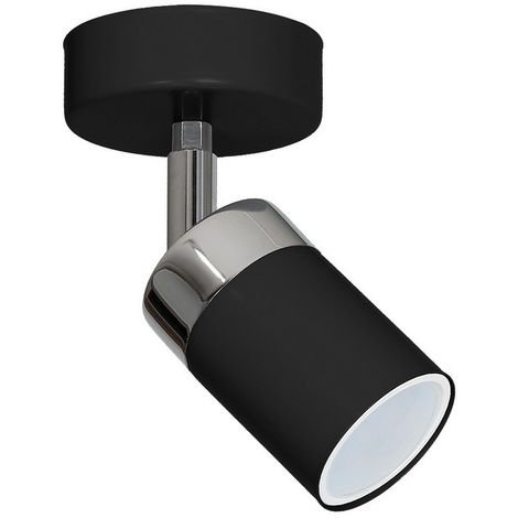 Joker Wall Lamp - Cylindrical - Ceiling, Wall Mounted - Black, Chrome Made of Metal, 11 x 11 x 13 cm, 1 x GU10, 8W