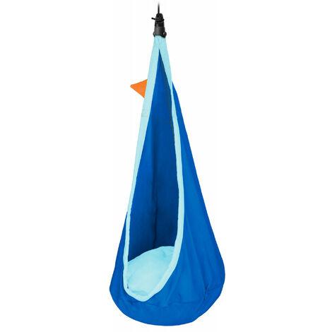 Joki Dolphy - Nid-hamac enfant en coton bio avec fixation - Bleu / turquoise