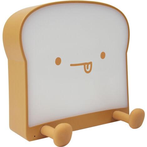 Jolie veilleuse en forme de toast de dessin animé, lampe tactile de table de chevet, veilleuse LED à intensité variable, lumière simple et double face