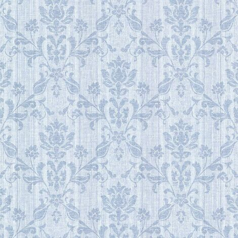 Joliet Damask Retro Vintage Floral Blue Matt Finish Strippable Wall Covering