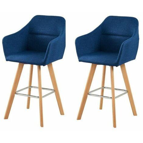 JONAS Lot de 2 tabourets de bar - Bois hetre massif - Tissu bleu clair - Style scandinave - L 52 x P 55 cm