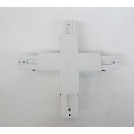Jonction en X blanche pour rail électrique 3 allumages 230V (possibilité d'alimentation) T-RAIL TRAJECTOIRE 231301