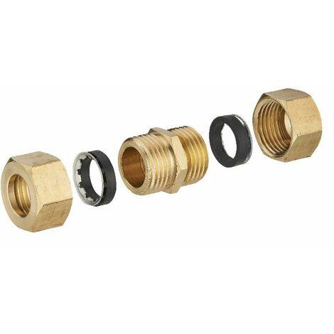 Jonction laiton à joint mixte égale pour tube cuivre NOYON & THIEBAULT - Ø 14 mm - 414G-14L1