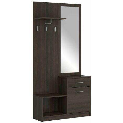 JOORI - Meuble d'entrée - Vestiaire + miroir - Armoire chaussures - Style scandinave - 185.5x90x30.5 cm - Porte-manteau - Wengé