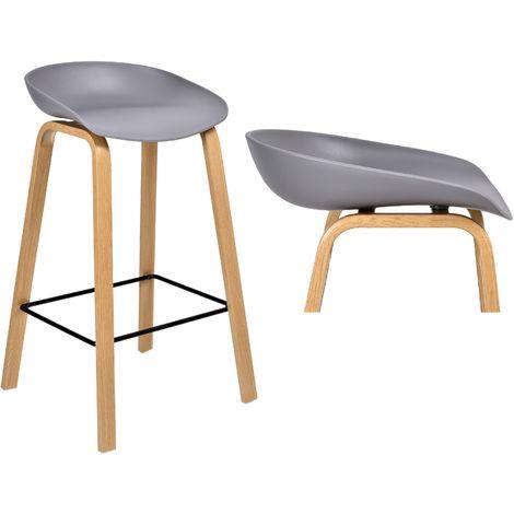 JOPLIN | Tabouret de bar style scandinave 85x49x46 cm imitation bois| Chaise haute cuisine acceuil | Hoker | Mobilier moderne bar - Gris