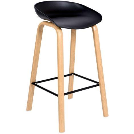 JOPLIN | Tabouret de bar style scandinave 85x49x46 cm imitation bois| Chaise haute de cuisine | Hoker | Mobilier moderne bar - Noir