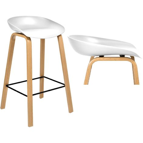 JOPLIN | Tabouret de bar style scandinave 85x49x46cm imitation bois| Chaise haute de cuisine | Hoker | Mobilier moderne bar - Blanc