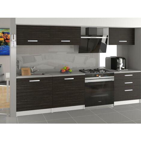 JORI   Cuisine Complète Modulaire Linéaire L 180 cm 6 pcs   Plan de travail INCLUS   Ensemble armoires modernes de cuisine   Ébène
