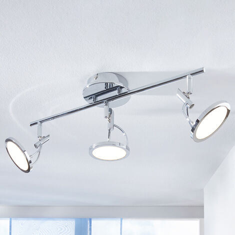 Jorne LED ceiling spotlight, chrome-plated, 3-bulb