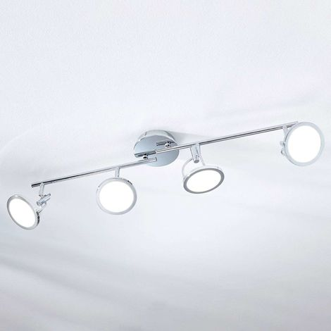 Jorne LED ceiling spotlight, chrome-plated, 4-bulb