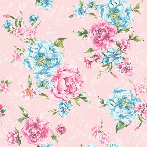 Josephine Wallpaper Flowers Flora Leaves Motif Bold Pink & Blue Holden Decor