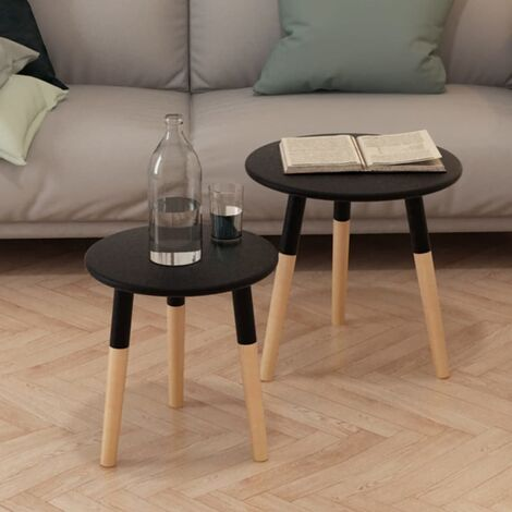 Josephus Solid Pinewood 2 Piece Nest of Tables by Brayden Studio - Black
