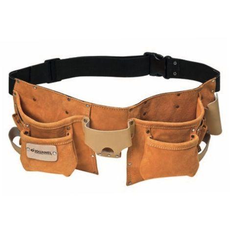 JOUANEL Tablier américain cuir avec ceinture, 6 poches et 8 porte-accessoires