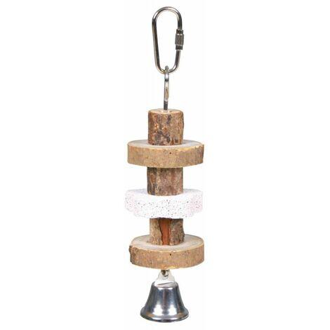 Jouer à ronger, en bois d'écorce/pierre de lave - 16 cm