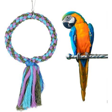 Jouet à mâcher pour perroquet, perchoir à oiseau, jouet coloré à mâcher, anneau à suspendre, jouet pour perruche, perroquet, perruche, calopsitte, mynah, oiseaux inséparables