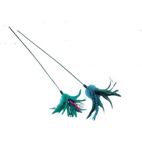 Jouet chat canne a plume verte 50cm
