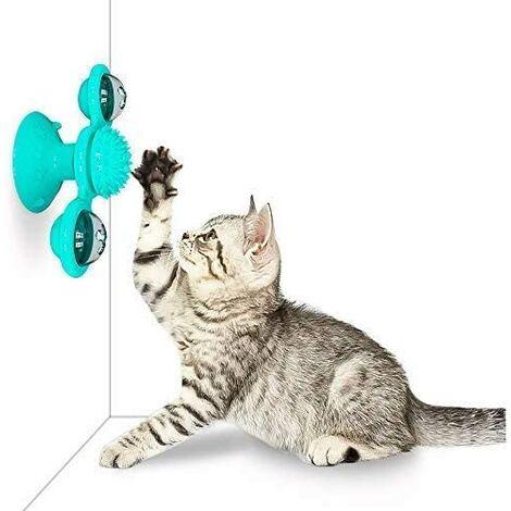 Jouet de Chat interactif Jouet de Moulin à Vent de taquinerie de Plateau tournant de Chat avec la Base de Ventouse Jouets interactifs de taquinage de Plateau tournant d'animal familier (Bleu)