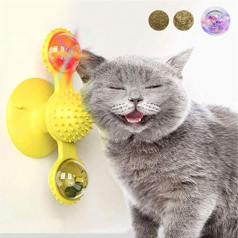 Jouet de chat moulin à vent, tourne-disque, jouet de chat, ventouse, jouet interactif rotatif, brosse à poils de chat, tourne-disque, massage, grattage, chatouillettes.