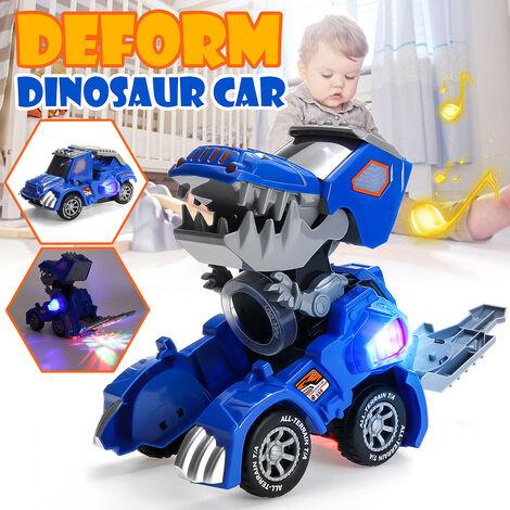 Jouet de voiture de dinosaure de déformation électrique pour enfants avec lumières clignotantes musicales (bleu, modèle de voiture de sport)