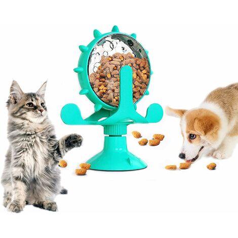 Jouet distributeur de nourriture pour chat, 360 & deg; Jouet rotatif pour animaux de compagnie avec distributeur de friandises pour moulin à vent avec ventouse, jouet interactif à mangeoire lente pour chats / chiens