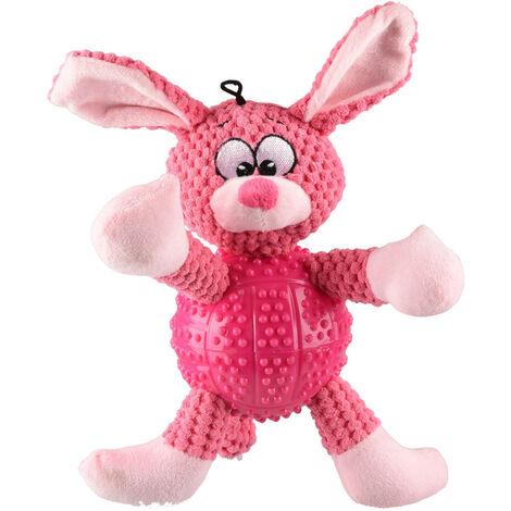 Jouet pour chien. Lapin BESS rose. longueur 28 cm env.
