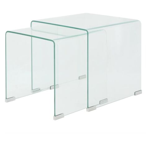 Jovita Tempered Glass 2 Piece Nest of Tables by Brayden Studio - Transparent