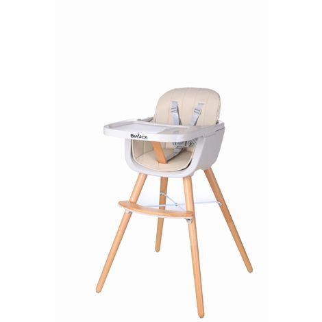 JOYA | Chaise haute évolutive 2en1 bébé/enfant style scandinave | Pieds bois + Siège en simili-cuir lavable + Repose pieds - Beige